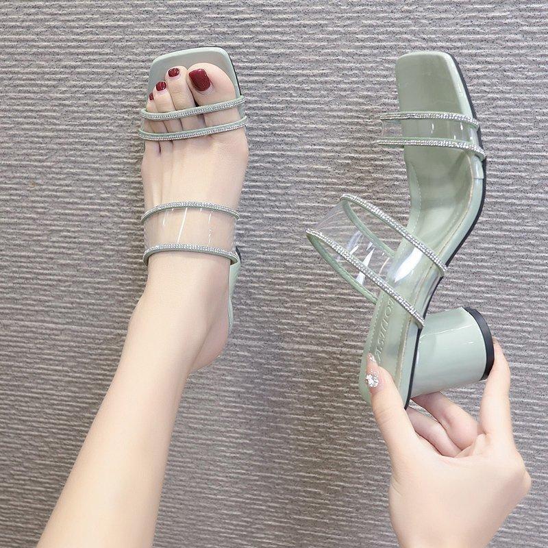 Chaussures pour femme Pantoufles en plein air 2021 STRINES SHINESTONE CHUNKY THELS Sandales à talons hauts