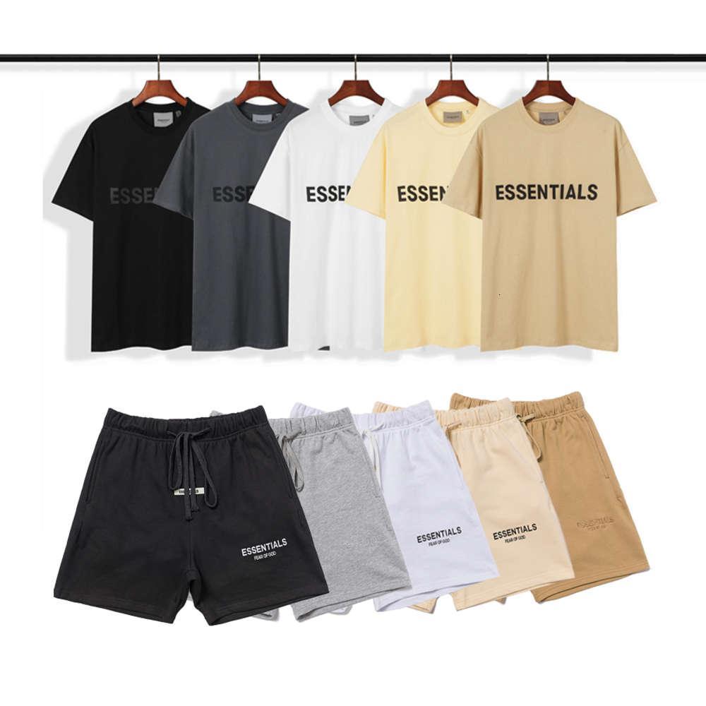 T-shirts à la mode peur de Dieu Fog Essentials Lettre Tees imprimés Tops Hommes Reflective Shorts Femmes T-shirts d'été