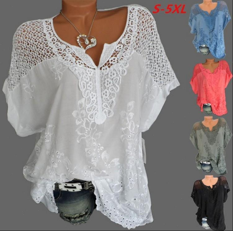 Large Size Loose Short Sleeved Womens Blouses Lace Cotton Summer Tops Sexy Fashion
