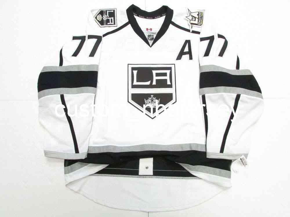 Ricamo Jeff Carter Los Angeles Kings Away 50th Anniversary Jersey Uomo personalizzato Hockey Jersey Aggiungi qualsiasi Nome Numero