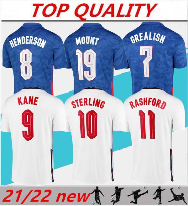 2021 Kane Soccer Jersey Rashford Henderson Phillips Sanlo Sancho Sancho Mount Saka Shirt de football