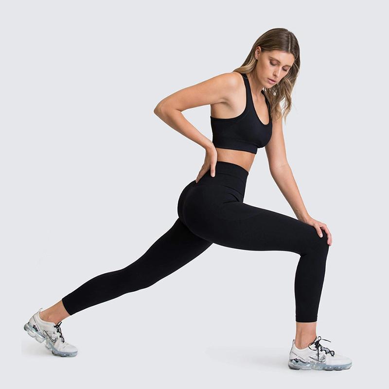 2 adet Spor Yoga Eşofman Yüksek Bel Tozluk Spor Sutyen Kadınlar için Kıyafet Dikişsiz Setleri Spor Giyim Egzersiz Takım Elbise Spor Giyim