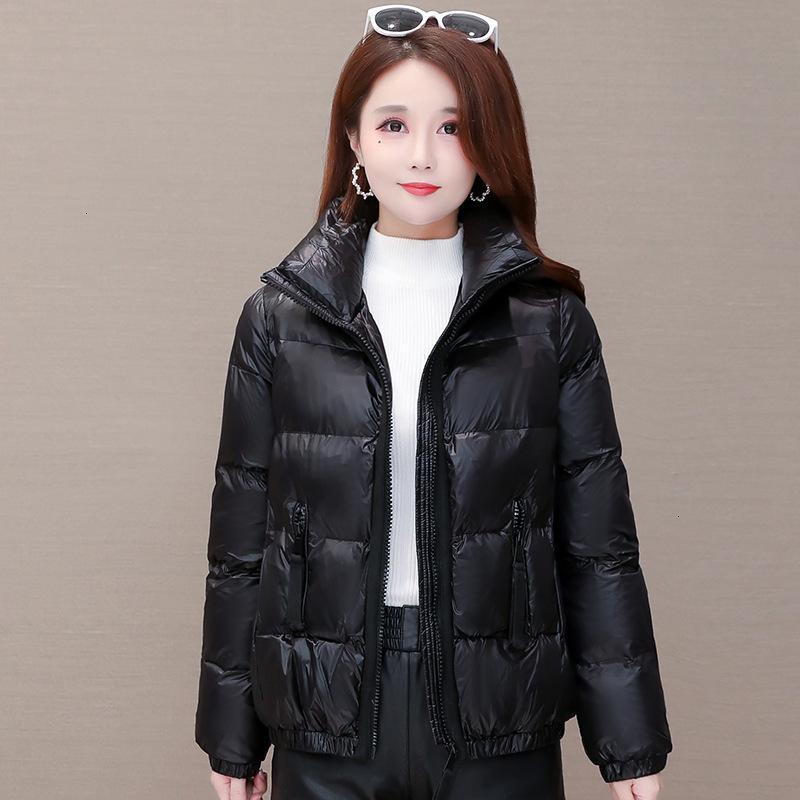 Women's Jackets Winter Shiny Puffer Coat Women Clothes Korean Plus Size Warm Casual Fashion Slim Parkas Female Cotton Padded K1A3
