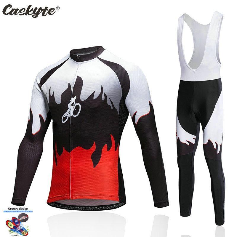 Гоночные наборы 2021 Caskyte Spring / осень Велосипедные Джерси 19D нагрудник набор MTB Oродный велосипед одежда быстрая сухой велосипед одежды мужчины длинные WEA