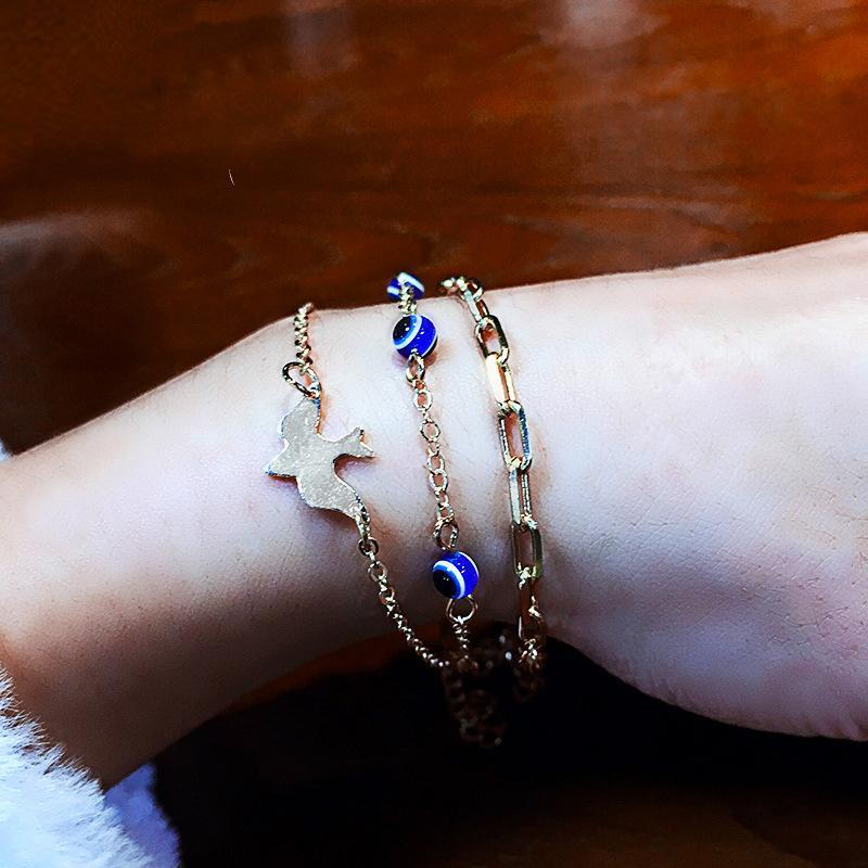 Pcs/set Vintage Bracelets Boho Simple Geometric Bird Gem Beaded Chain Golden Bracelet Set Beach Fashion Jewelry Accessories Link,