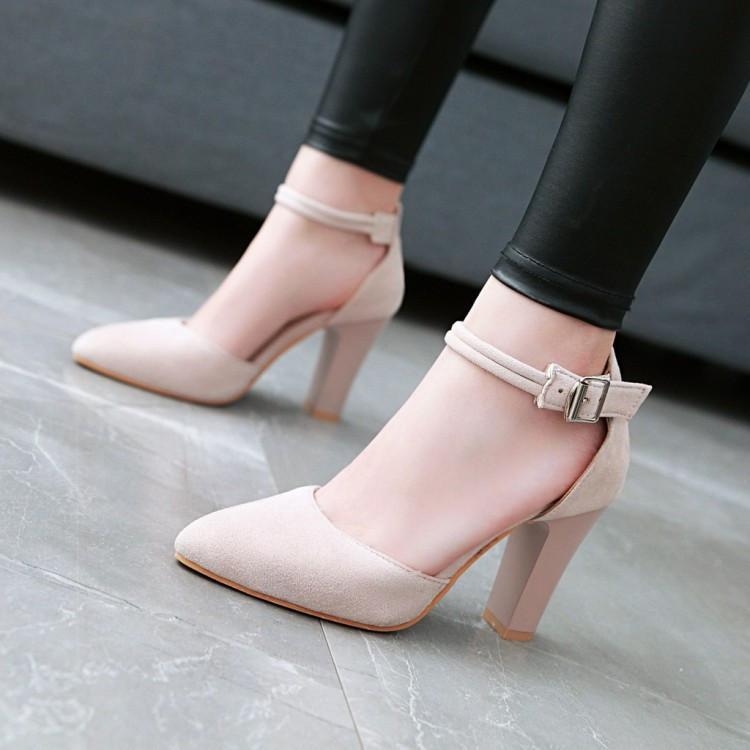 Conciso Flock Ankle Strap Sandálias Mulheres Quadrado Salto Alto Salto Ponto Pessoas Raso Escritório Ocasional Sapatos 34-43