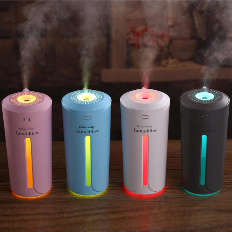 230ml Colorful Light Cup Air Humidfier Sundries Sundries USB Fidouissant LED Aromatherapy Diffuseur Diffuseur Maker pour Home Auto Mini Humidificateurs