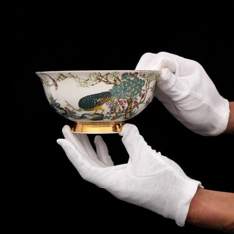 Qing Dynasty Qianlong Golden peint en émail d'oiseaux d'oiseaux d'oiseaux en porcelaine antique collection de bol antique