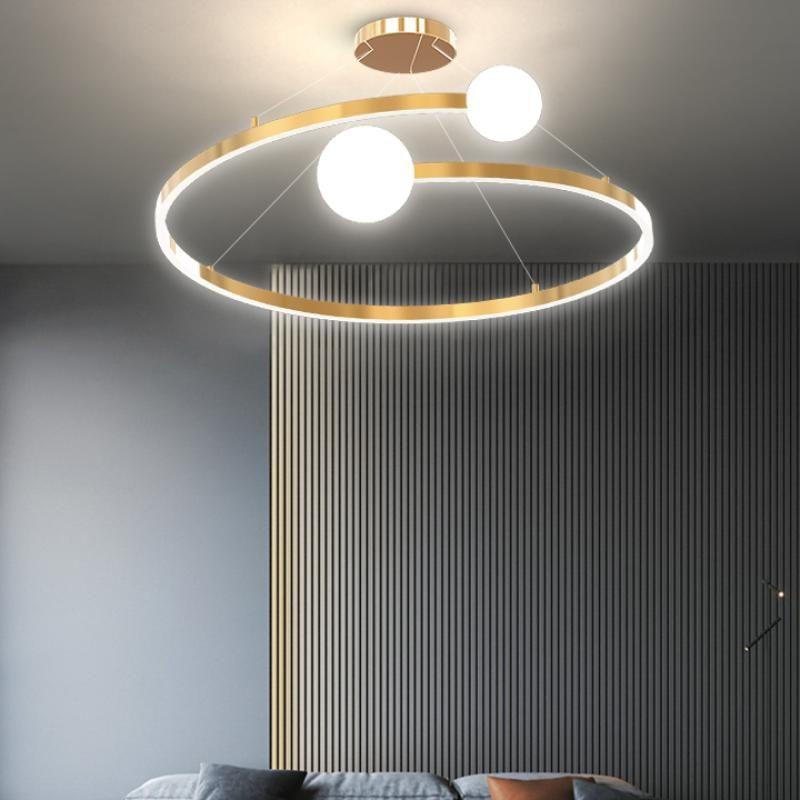 골드 컬러 미니멀리스트 현대 샹들리에 거실 침실 침실 식사 주방 표면 장착 조명 샹들리에