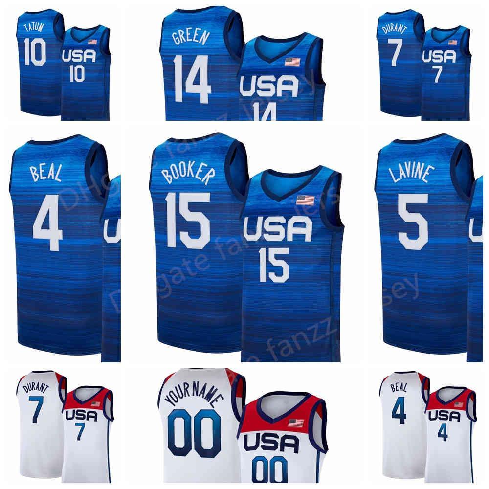 ABD Basketbol Forması 2020 Yaz Olimpiyatları 7 Mavi Kevin Durant 15 Devin Booker 6 Damian Lillard 10 Jayson Tatum Zach Lavine Bradley Beal USA 2021 Donanma Beyaz Adam Çocuk Kadınlar