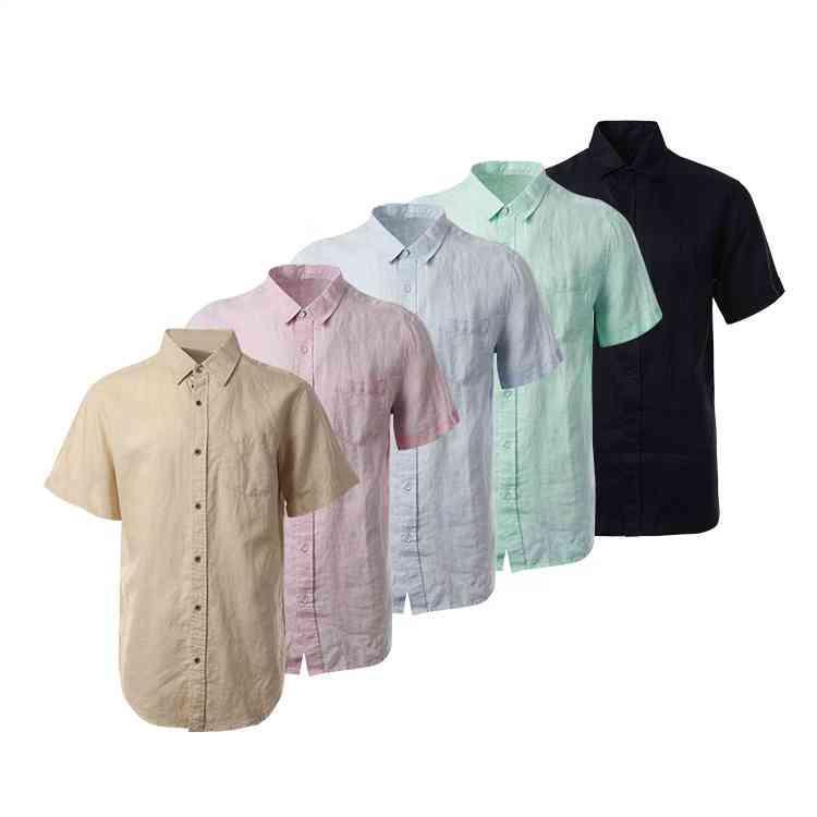 셔츠는 일반 염색 남성 캐주얼 스타일 반팔 린넨 코튼을 낮추고 맞춤형 버튼을 수락합니다.