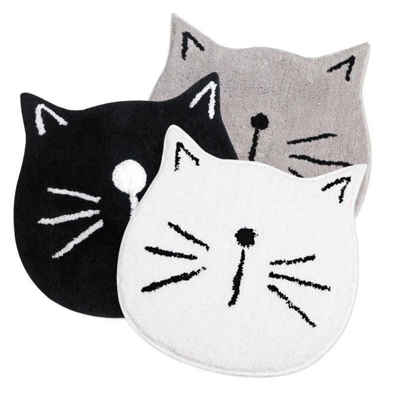 Tapis mignon Pailla pour enfants - Microfibre Absorbant Tapis de salle de bains Absorbant Tapis de plancher Tapis de tapis, en forme de chat