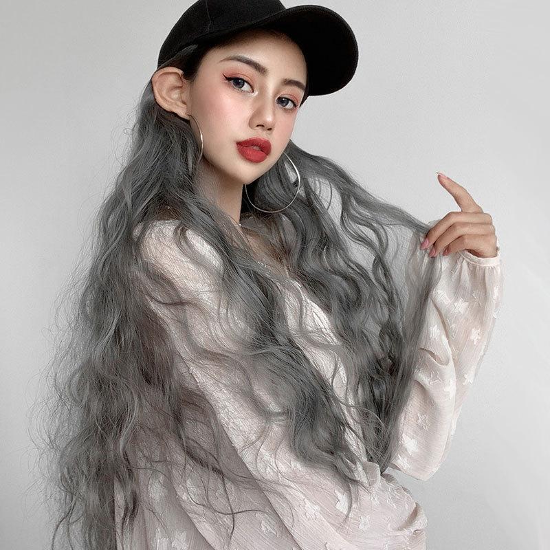 여자 긴 곱슬 머리 가발 모자 통합 옥수수 경기자 긴 곱슬 가발 전체 머리 큰 웨이브 가발 도매