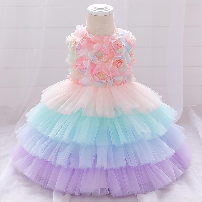 Vestidos de niña Flor de verano Vestido de bautismo Petal Toddler Infantil 1er cumpleaños para bebé Ropa Cake Tutu Princess
