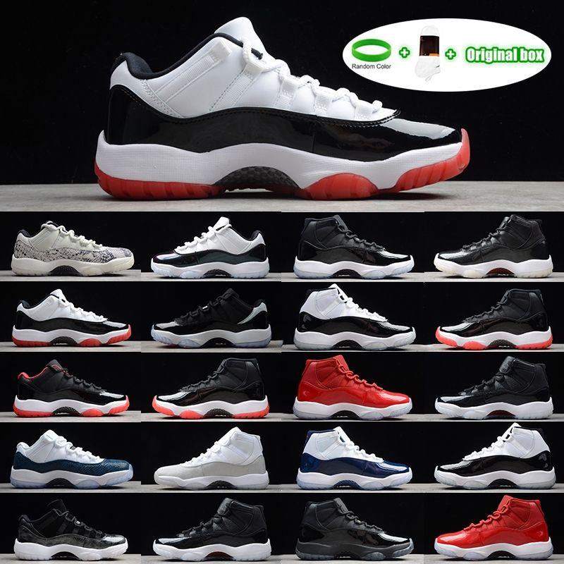 [Bilezik + Çorap + Orijinal Kutu] Air Jordan 11 Jordans AJ11 shoes 11 S Ayakkabı 25. Yıldönümü BRED Concord 45 Uzay Reçeli Spor Salonu Kırmızı Erkek Basketbol Ayakkabı Indigo Oyunu