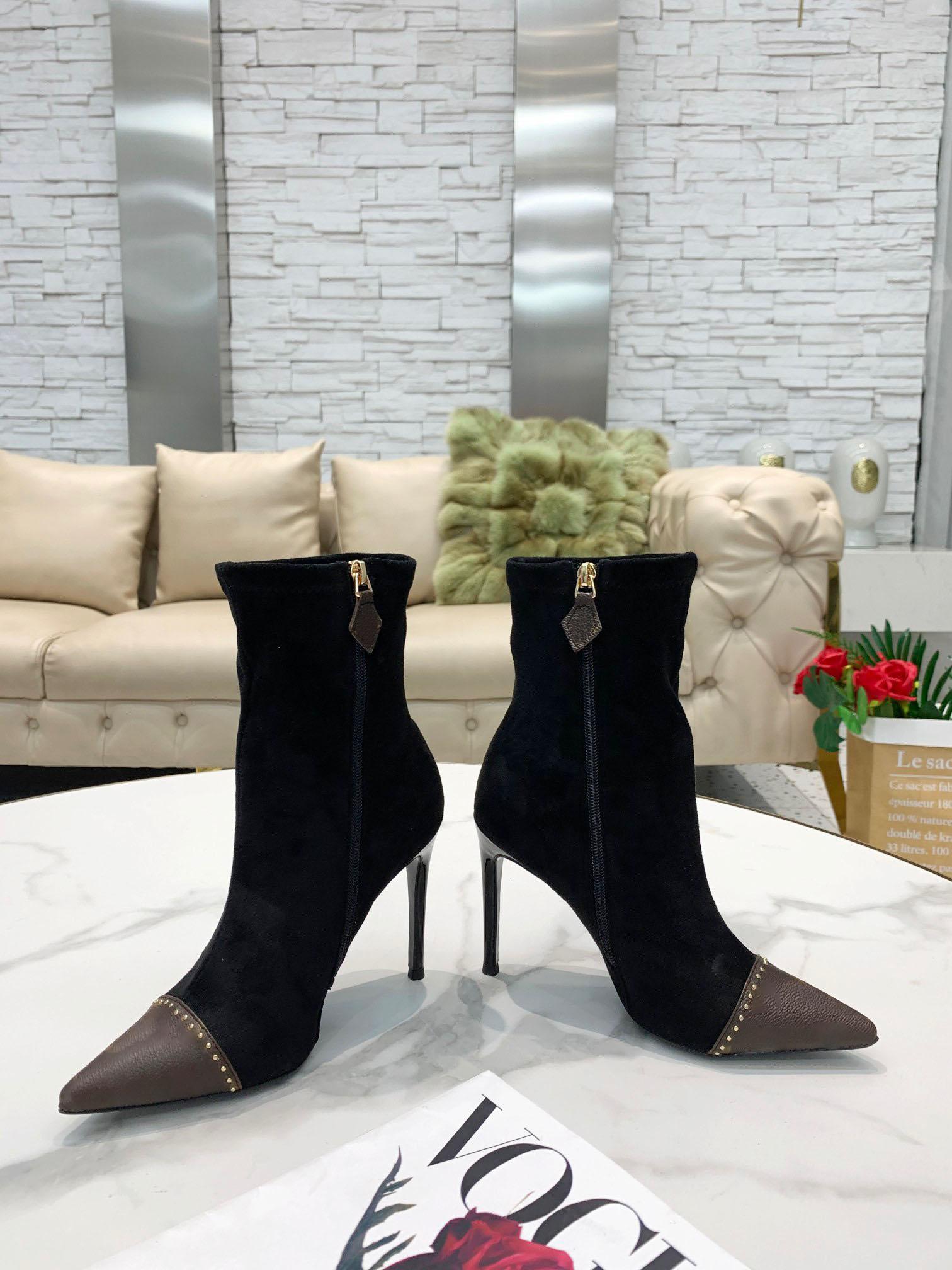 2021 Sonbahar Kış kadın Collet Yüksek Topuk Kısa Çizmeler Gerçek Deri Ayakkabı Kafa Tasarım Lake Tuval Malzeme