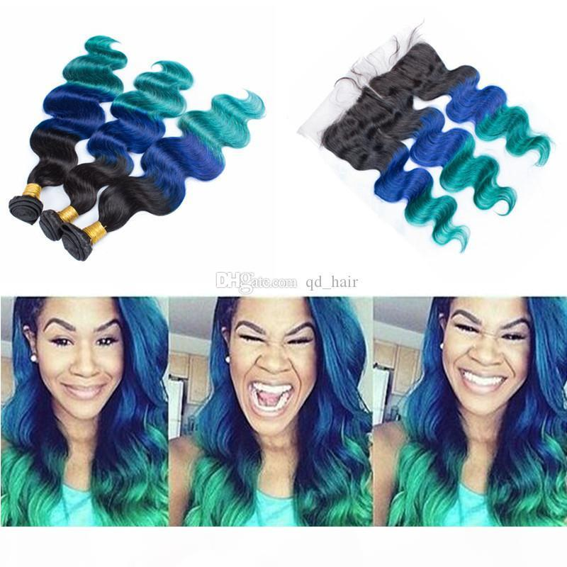 1B Blue Green Human Hair Bundles con encaje Frontal 13x4 Frontal de encaje completo con Ombre Treal Body Wave Wavy Hair Trama