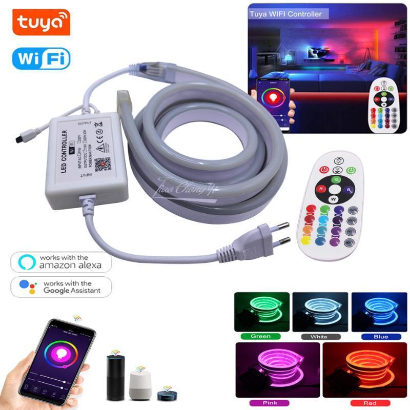 스마트 Tuya 와이파이 컨트롤 RGB 네온 스트립 라이트 램프 80LED / M 유연한 LED 로프 EU 220V US 110V 플러그 스트립