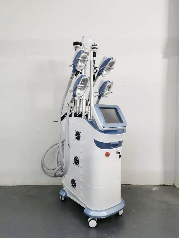 360 ° Multifunción Multifunción congelar la grasa adelgazante Reducir 5 asas trabajando juntos Cryolipolysis + Cavitación + RF + Lipolaser Ultracavitation Double Machine Machine