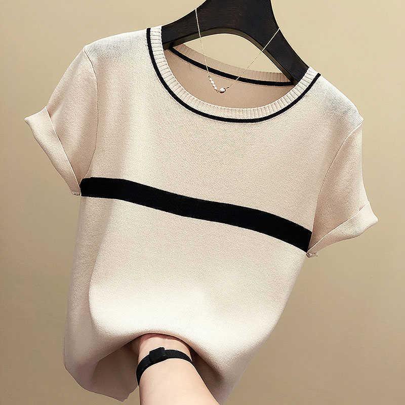 Şinimler ince örme t gömlek kadın giyim yaz kadın kısa kollu tees çizgili rahat t-shirt kadın tshirt femme 210609 tops