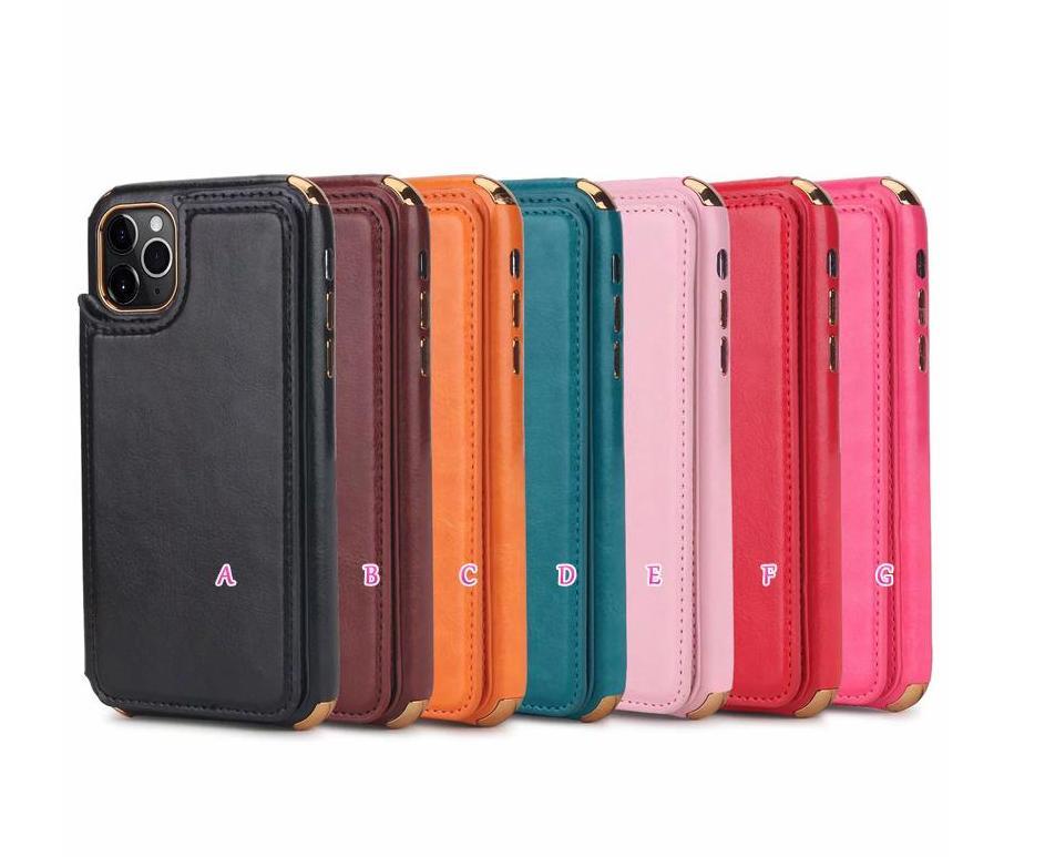 Casos de slot de bolso de cartão de identificação para Samsung Nota 10 S9 S10 PLUS Luxo Plating PU Couro Cromado Soft TPU Suporte Telefone Telefone Voltar Capa Pele