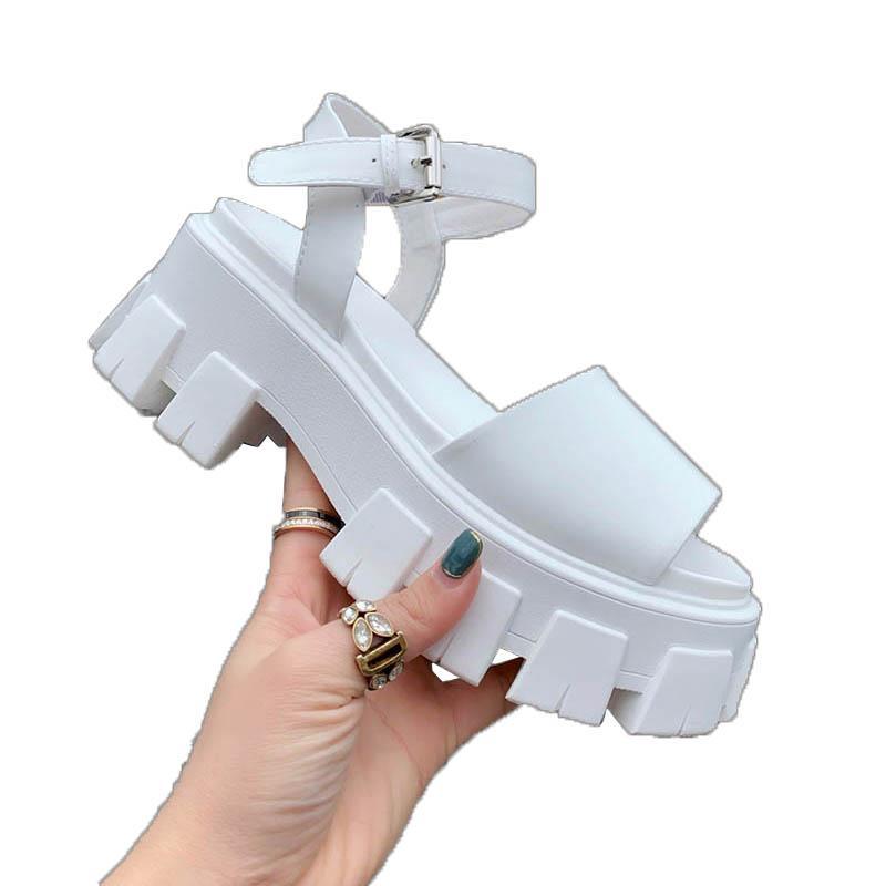 Luxus Designer Frauen Platform Sandalen Frau Schwarz Weiß Sommer Kausal Schuhe Komfortables Mädchen Echtes Leder Schnalle Größe 35-41