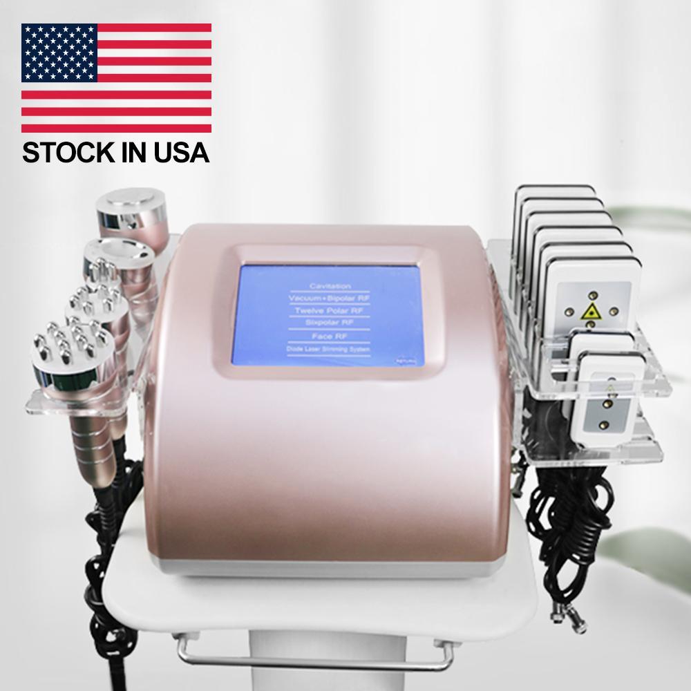 초음파 cavitation lipo 레이저 지방 슬리밍 기계 주식 !!! 셀 룰 라이트 무선 주파수 피부 강화 아름다움 장비 5 헤드