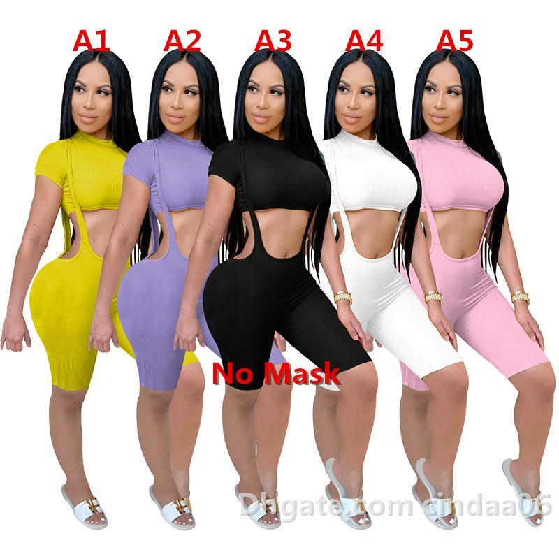 Frauen Trainingsanzüge 2 Stück Set Designer-Taille-freiliegende Kurzarm Hosenträger Hosen-Club Mode Tight Long Hose Casual Sportsanzug