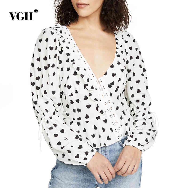 VGH Baskılı Lace Up Ilmek Gömlek Kadınlar Için V Boyun Puf Uzun Kollu Patchwork Fırfır Seksi Bluz Kadın Moda Yeni Giyim 210421