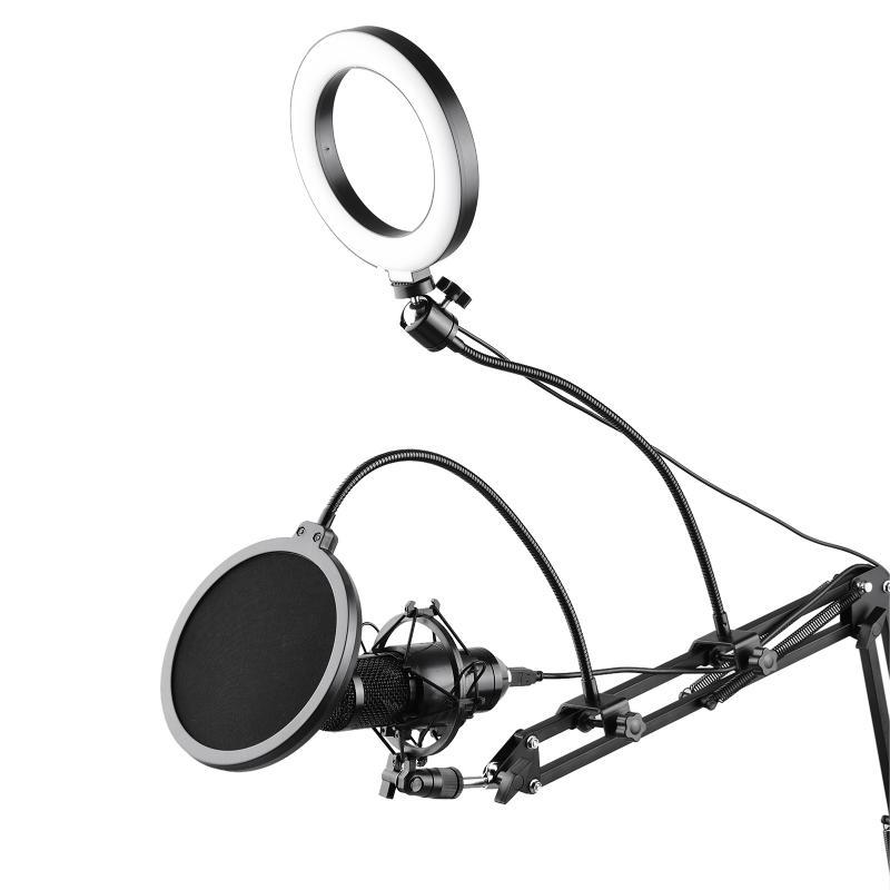 6.3inch/16cm Video Microphone Ring Light Kit With Filter Articulating Arm Ball Head Stand Micropone Mount Flash Heads