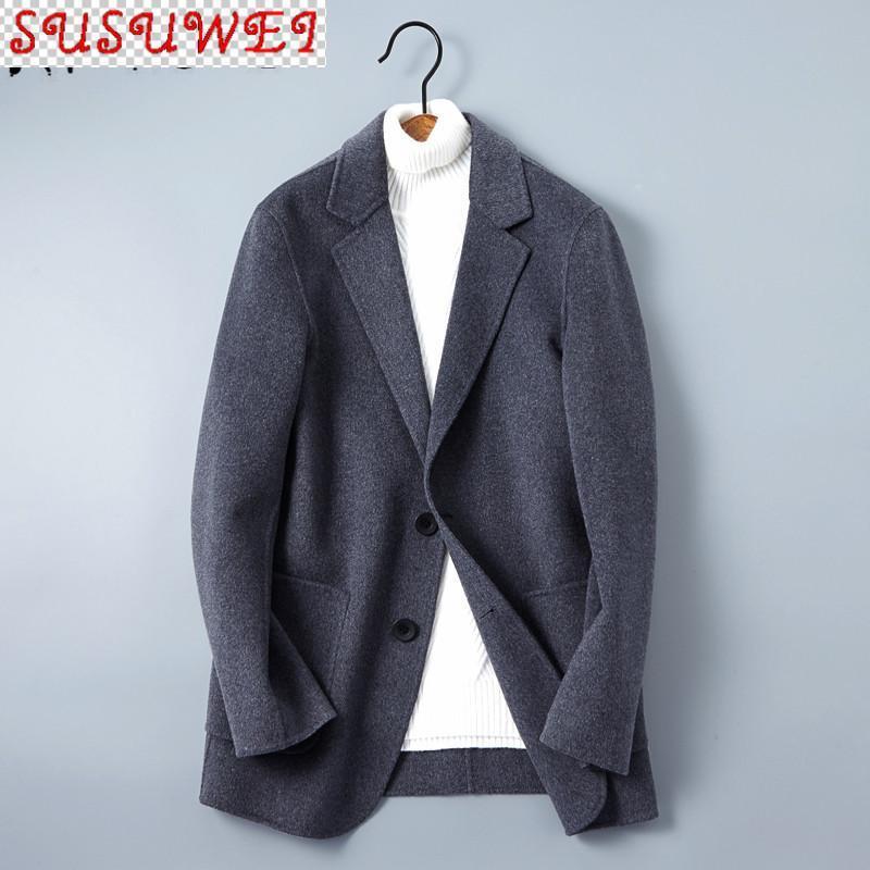 Wollmantel Männer Casual Black Jacke Woolen doppelseitige Herrenmäntel und Jacken Chaqueta Hombre QT-161705 KJ4302 Herrenmischungen