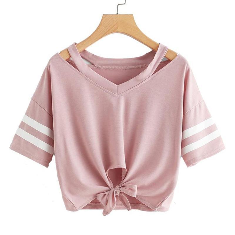 Kadın Bluzlar Gömlek Yaz Rahat Çizgili Kadın Pamuk Kısa Kollu Yuvarlak Boyun Gömlek Kadınlar Için Yüksek Bel Ince Üst Mujer #yj Zopn