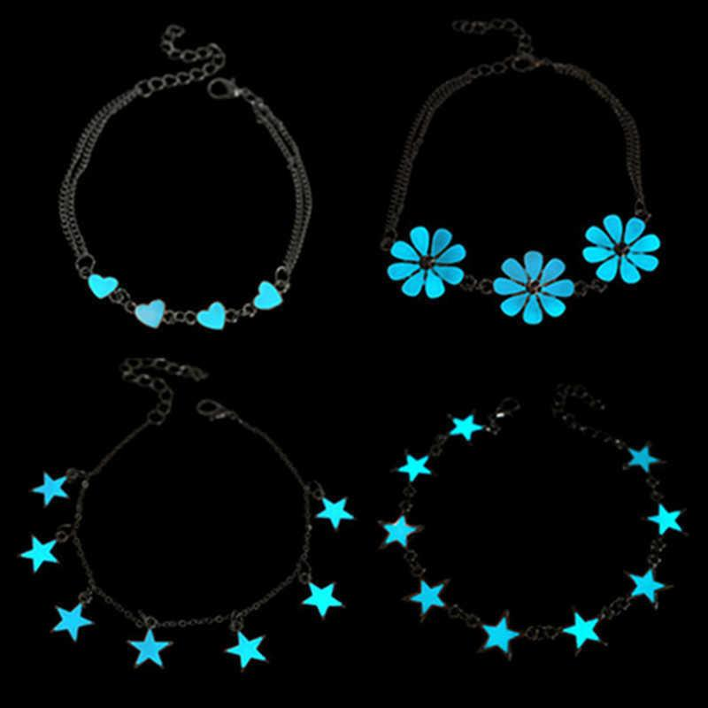 Charm Bracelets Fashion Orescent & Bangles Pretty Heart Star Flower Shape Glow in the Dark Luminous Bracelet for Women