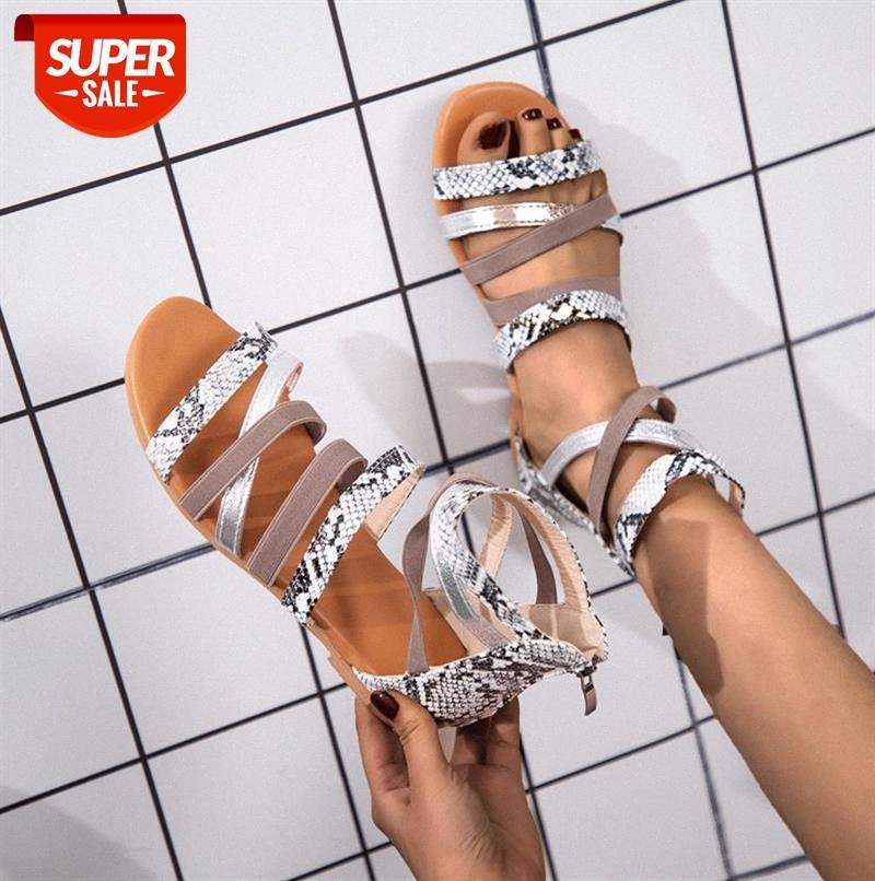 Women's Sandals Leopard Spring Summer Ladies Rome Shoes Buckle Strap Flat Heels Retro Peep Toe Sandal With Back Zipper Casual #vR7u