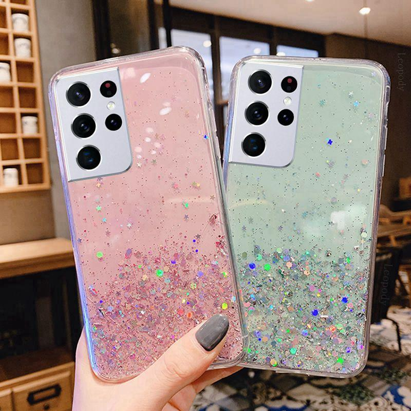 For Samsung Note20 Case Bling Glitter Star Phone Cases For S21 Note 20 Ultra 5G Transparent Cover S21Plus