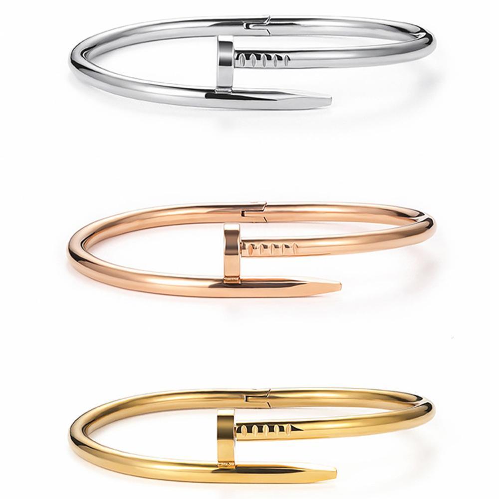 Высококачественный браслет товаров без бриллиантовых ногтей влюбленные влюбленные мужские и женские из нержавеющей стали розовое золото без оригинальной коробки