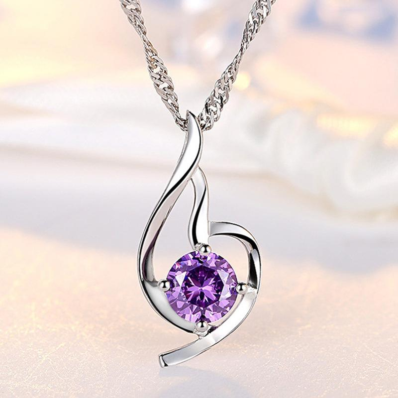 Women Heart Pendant Necklace 925 Sterling Silver Ladies Luxury Zirconia Amethyst Crystal Pendant Water Necklace Purple/Silver Color 347 N2