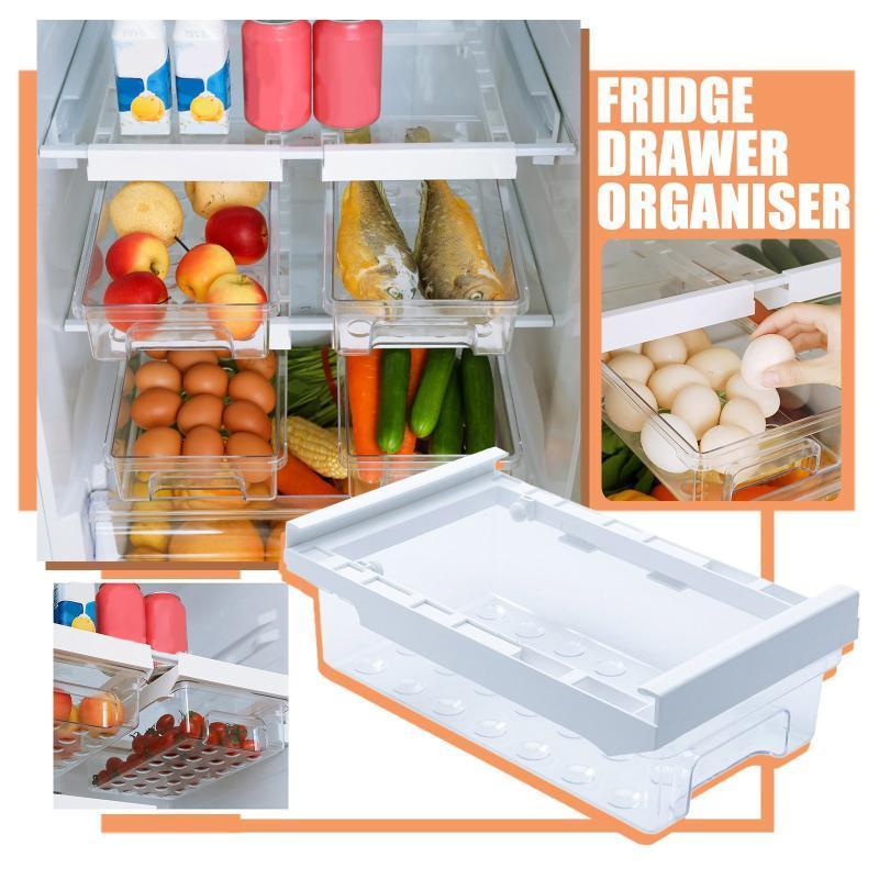 40 # Caja de almacenamiento de cocina transparente Cajón plegable Refrigerador de plástico Contenedor de gran capacidad de plástico Organizador duradero Frascos frascos