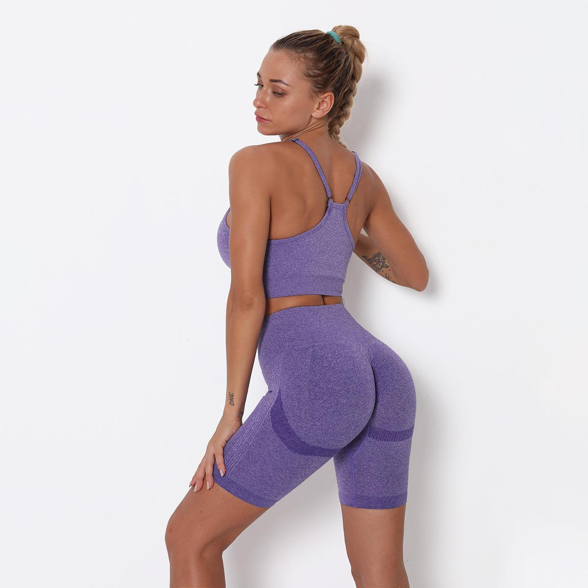 Europe and the United States hot-selling Women's Tracksuits seamless fashion top quality hip yoga shorts sports bra set