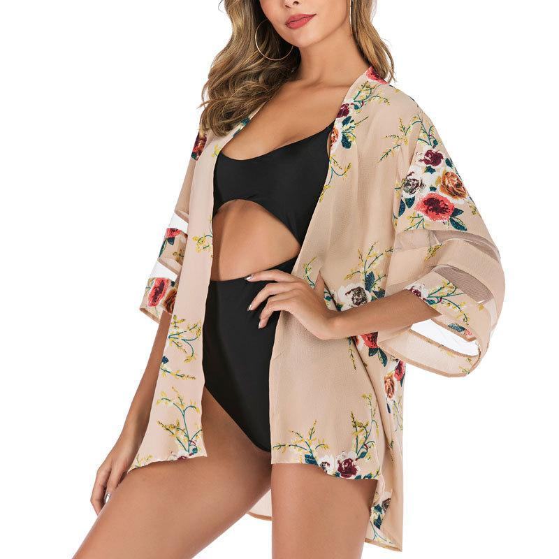Mulheres Swimwear Mulheres Boho Impresso Kimono Beach Cover-Ups Moda Verão Aberto Frente Chiffon Cardigan Meia Manga Shawl Capes Bohe
