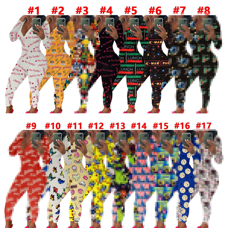 Femmes Automne Jumpsuits Body Body Training Bouton Skinny Print Chaud Imprimé V-Col V Pantalon long Pantalon Longsies Hy0072