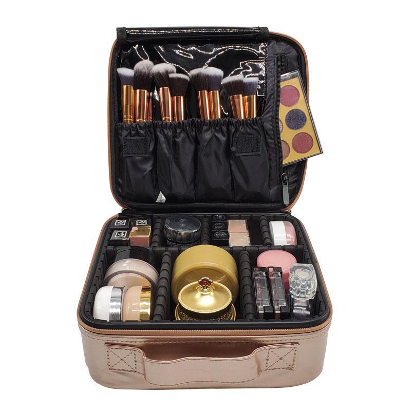 Gül Altın Kadın Kozmetik Çantası Seyahat Profesyonel Makyaj Kutusu Moda Güzellik Makyaj Durumda Sanatçı Kozmetik Bavul Kılıfı Çanta