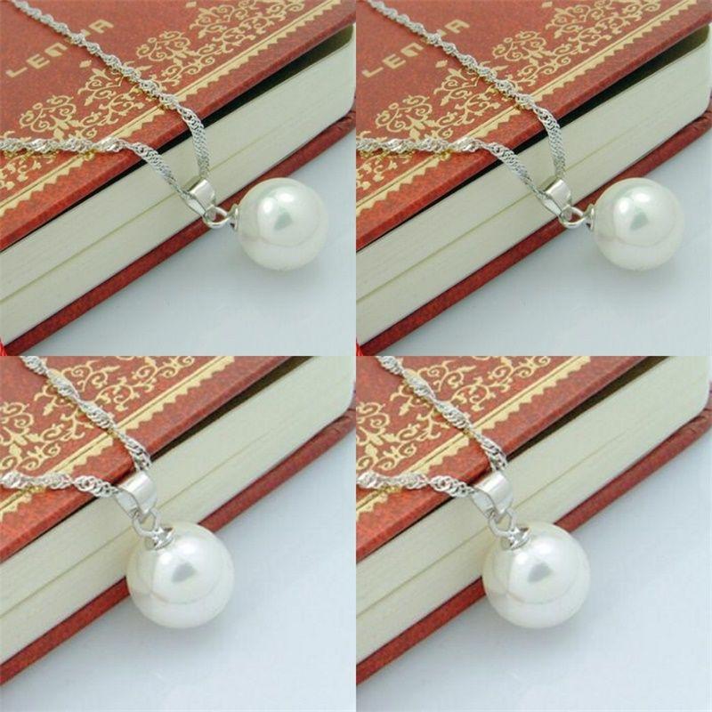 Lange Perlenanhänger 925 Sterling Silber Halskette Perle Mode Frauen Böhmische Halskette Anhänger 10 cm Ball Damen Schmuck 345 N2