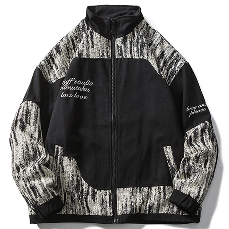 Chaquetas para hombres Bloque de color retro lacible Patchwork Cremallera Chaqueta Chaqueta Hombres Harajuku Hip Hop Streetwear Letra 2021 Outwear Outwear Outwear