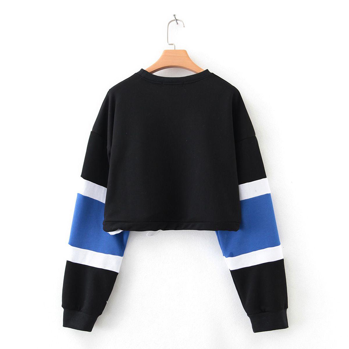 Sweat à capuche à capuche à manches longues Mode Femme Swewoprise Femme Sweatshirt Pull Tops Short Blouse Streetwear Sudadera Mujer