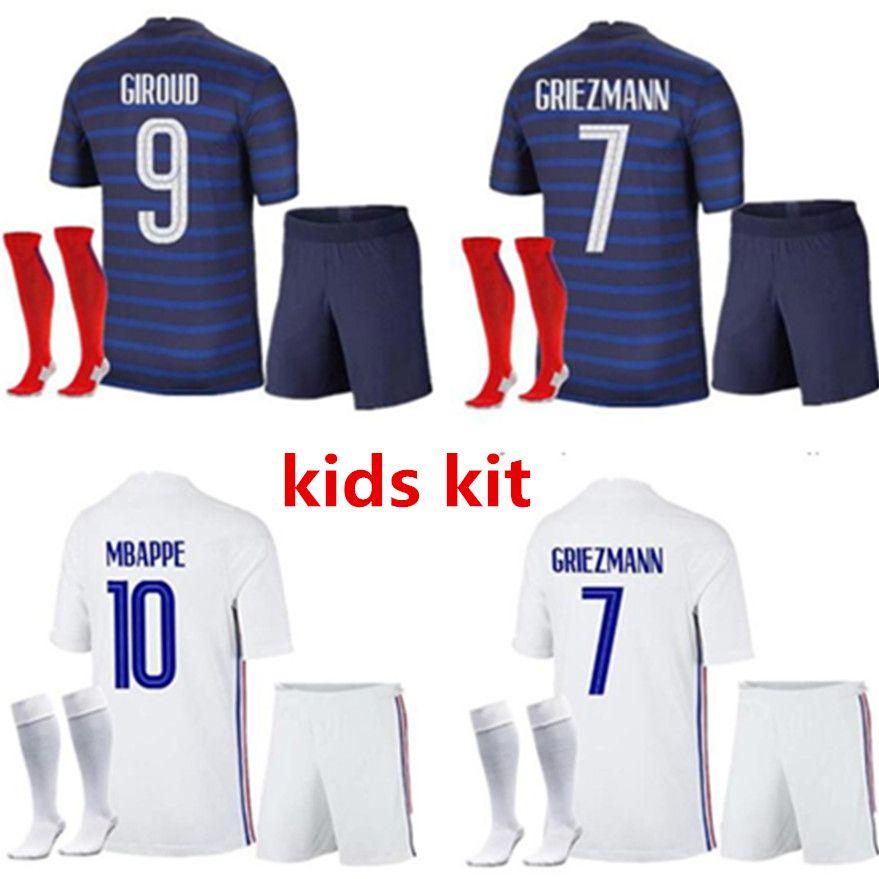 2021 Kids Kit فرنسا Home Soccer Jersey 21- 22 بعيدا Mbappe Grizmann Kante Pogba Maillots de Football Maillot Equipe French Socks Jerseys