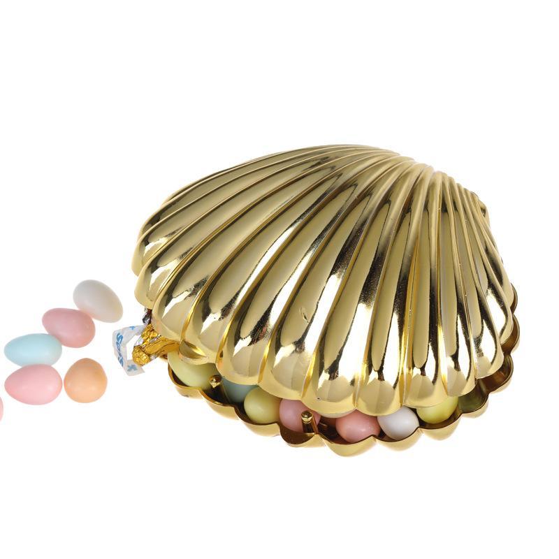 Forma de concha de ouro Caixa de doces de casamento Presente de plástico caixas caixas aniversário festa de Natal prata branco rosa