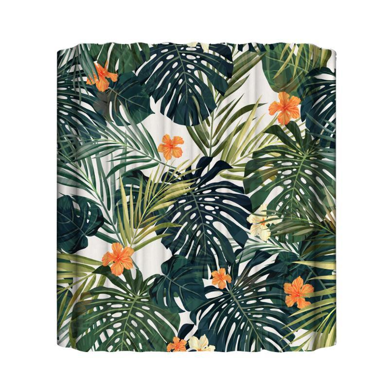 Shower Curtains Eco Friendly Curtain Tropical Leaf Flower Waterproof Polyester Digital Printed Accessories Colorful With Hooks Washable