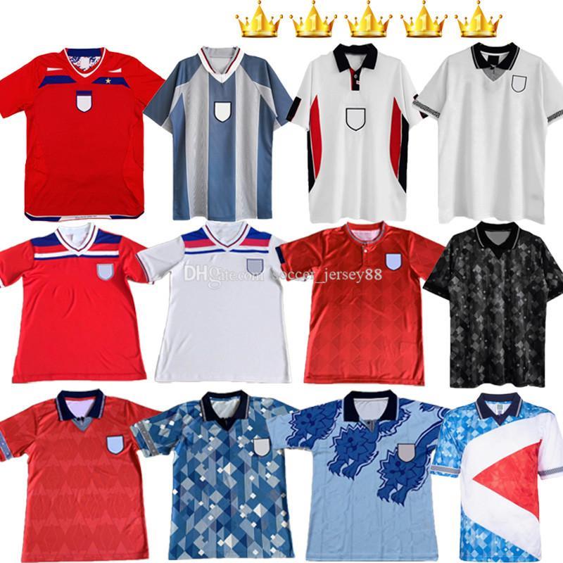 Inglaterra Retro Fútbol Jerseys 1980 1989 1990 1992 1994 1996 1998 Clásico Vintage Beckham Gascoigne Owen 80 89 90 92 94 96 98 Gerrard Mesh Up Home Away Football Shirt