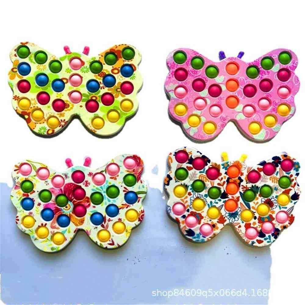 Borboleta Urso Multi Formas Empurrador Pop Fidget Bolhas Popper Brinquedos Rainbow Tie Tintura Poo-Sua bolha Placa Regular Tamanho Do Dedo Puzzle Desktop Decompression Presentes G62J6AJ